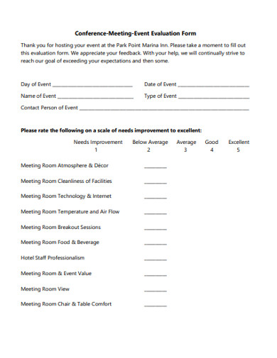 conference meeting event evaluation form