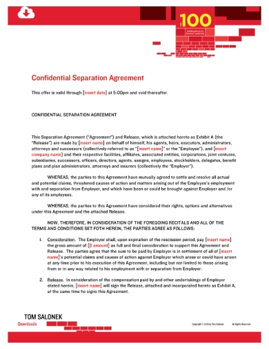 confidential employee separation agreement