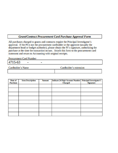 contract procurement card purchase approval form