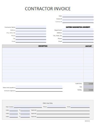 contractor invoice in pdf
