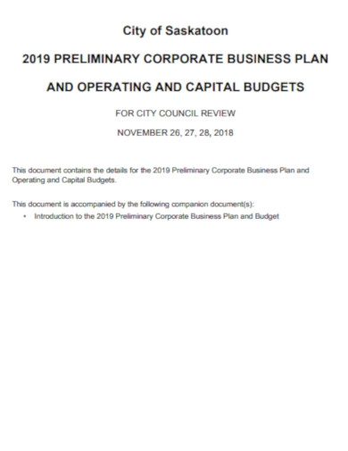 corporate business plan budget
