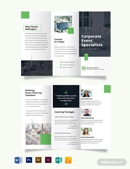corporate event catering tri fold brochure template