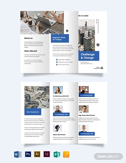 corporate event company tri fold brochure template