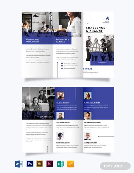 corporate fundraising event tri fold brochure template