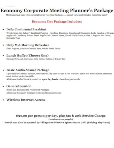 corporate meeting planner's package