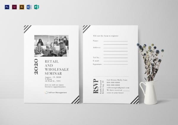 corporate retail and wholesale seminar event invitation