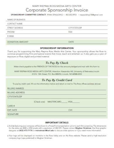 corporate sponsorship invoice