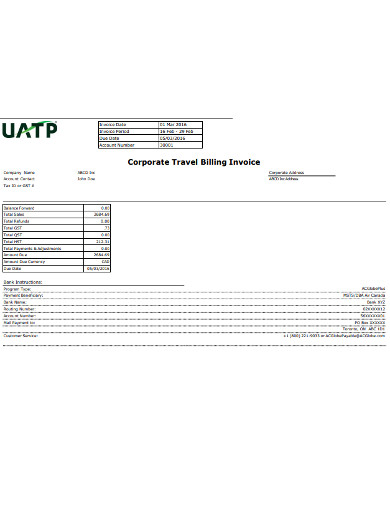 corporate travel billing invoice