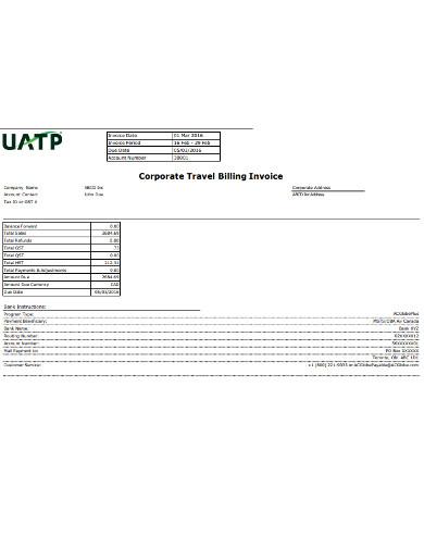 corporate travel billing invoice