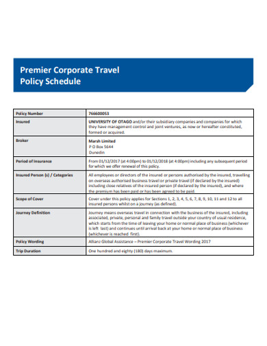 corporate travel policy schedule