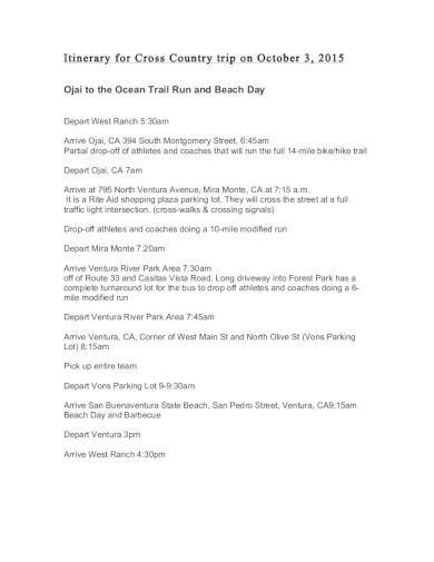 country road trip itinerary