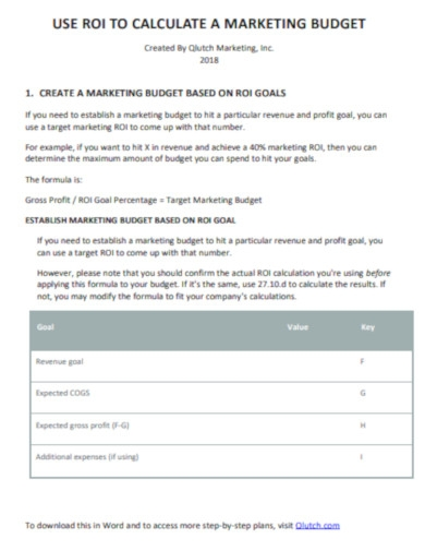 create a marketing budget