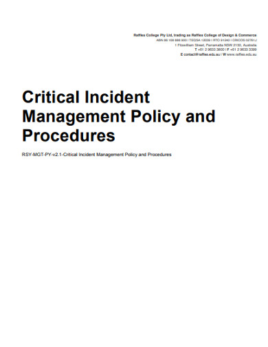 critical incident management policy and procedures