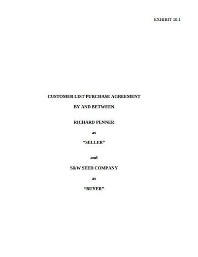 customer list purchase agreement