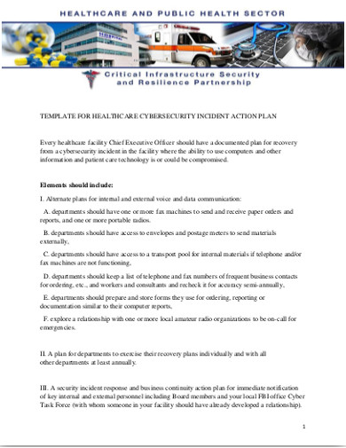 cybersecurity incident action plan
