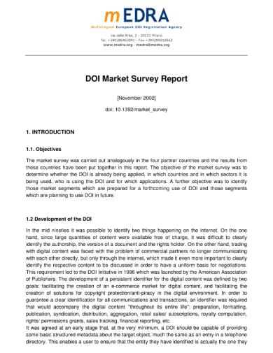 doi market research report