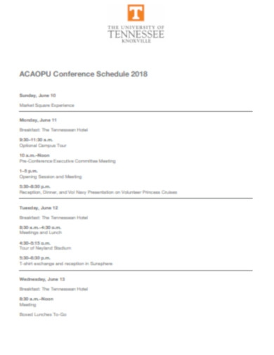 daily conference schedule