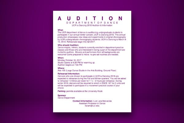 dance team audition flyer for concert