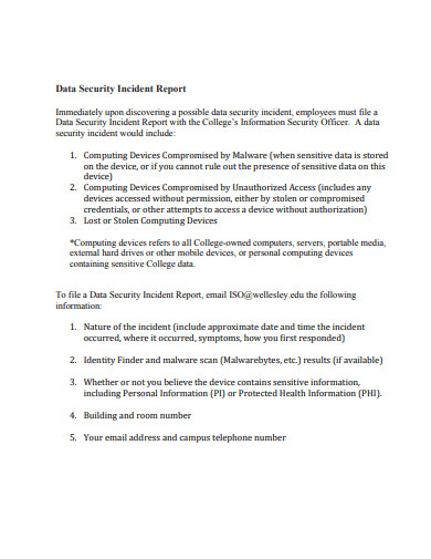 data security incident report