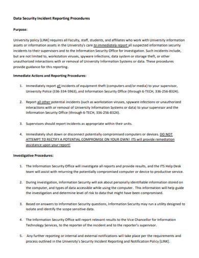 data security incident reporting procedures
