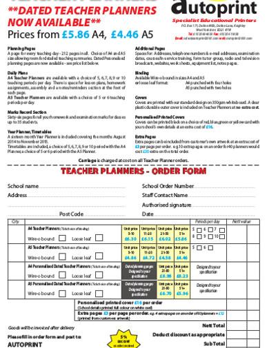 dated teacher planner