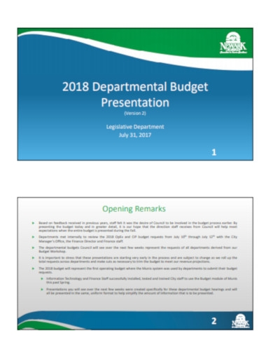 department budget presentation