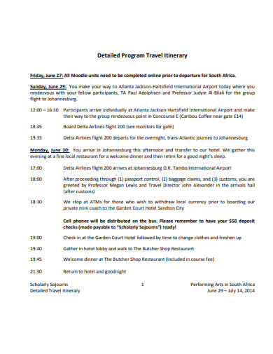 detailed program travel itinerary