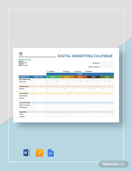 digital marketing calendar template