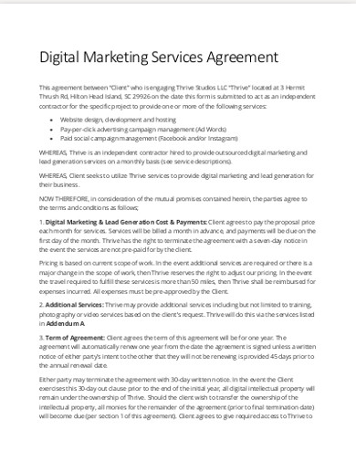 digital marketing services agreement