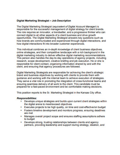 digital marketing strategist job description