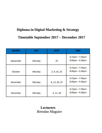 diploma in digital marketing strategy timetable