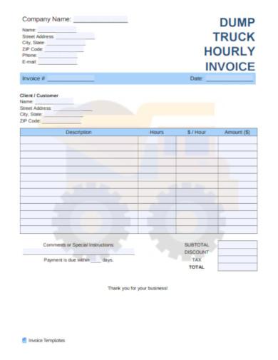dump truck hourly invoice