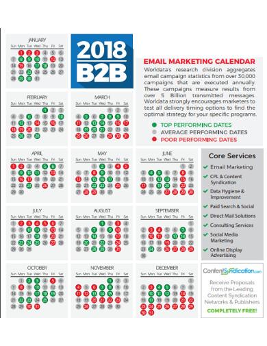 e mail marketing calendar