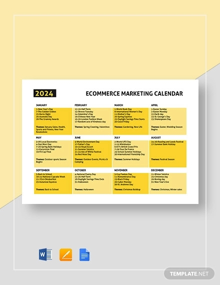 ecommerce marketing calendar template