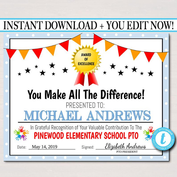 editable pta event certificate