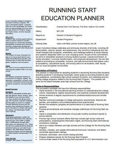 education planner sample
