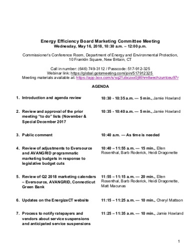 efficiency board marketing committee meeting agenda