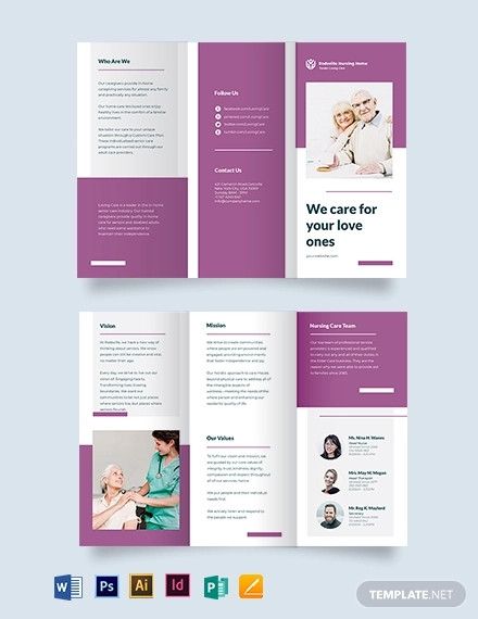 elder care nursing home tri fold brochure template