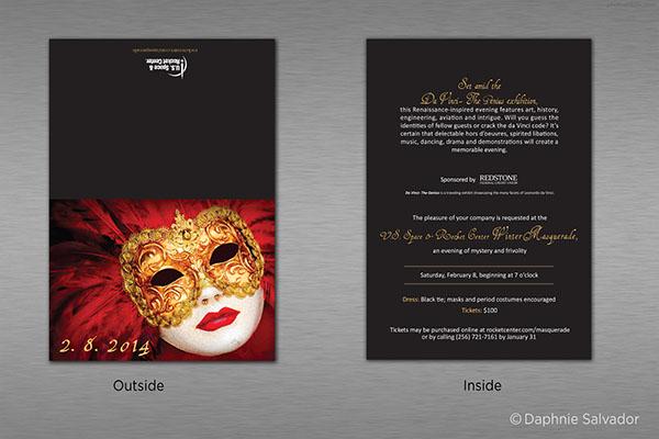 elegant masquerade ball invitation
