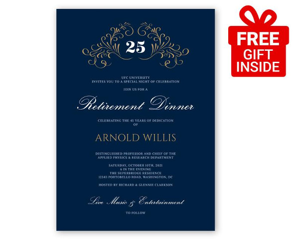 elegant retirement company event invitation