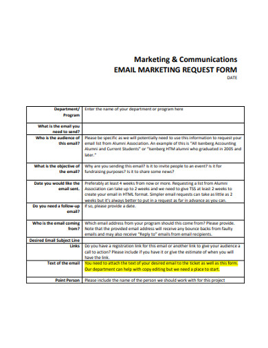 email marketing request form