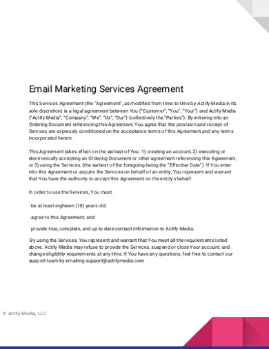 email marketing services agreement