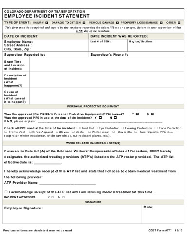 employee incident statement form