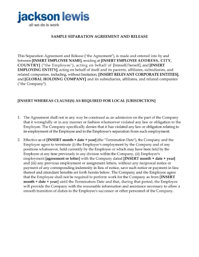 employee separation agreement and release