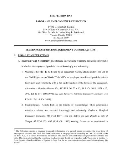employee severance separation agreement