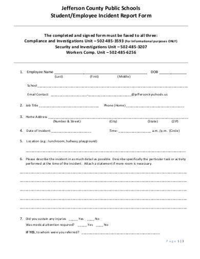 employee student incident report form