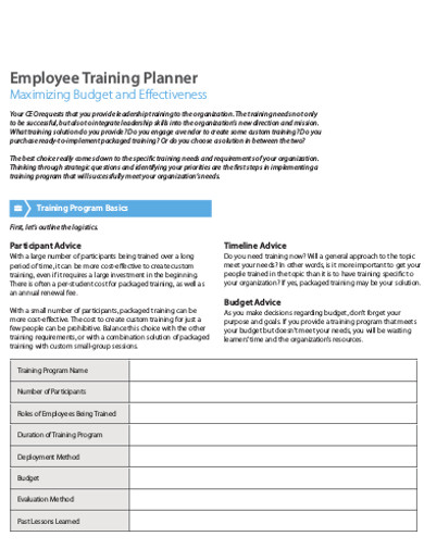 employee training planner