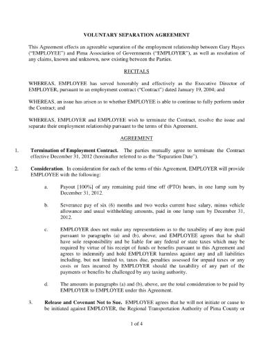 employment voluntary separation agreement
