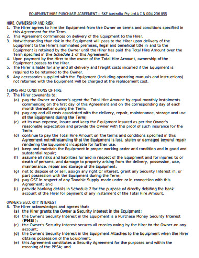equipment hire purchase agreement