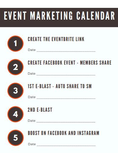 event marketing calendar